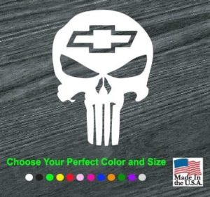 Chevy Chevrolet Punisher Skull Window Decal Sticker