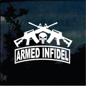 Punisher Infidel Crossed Guns Decal Sticker