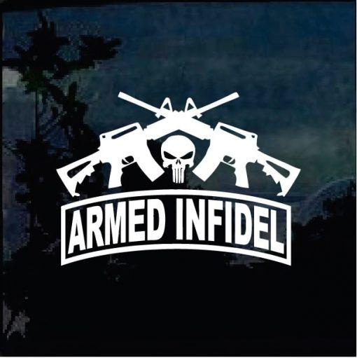 Punisher Infidel Crossed Guns Decal Sticker