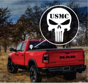USMC Marines Punisher Skull Truck Window Decal Sticker