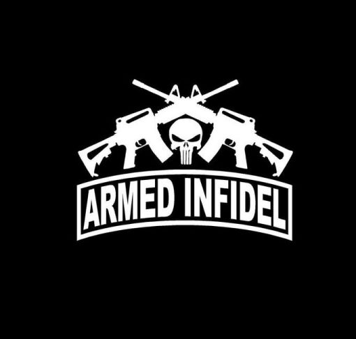 Punisher Armed Infidel Crossed Ar Vinyl Decal Stickers
