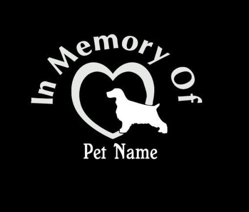 In Loving Memory Vinyl Decal Stickers Cocker Spaniel Heart