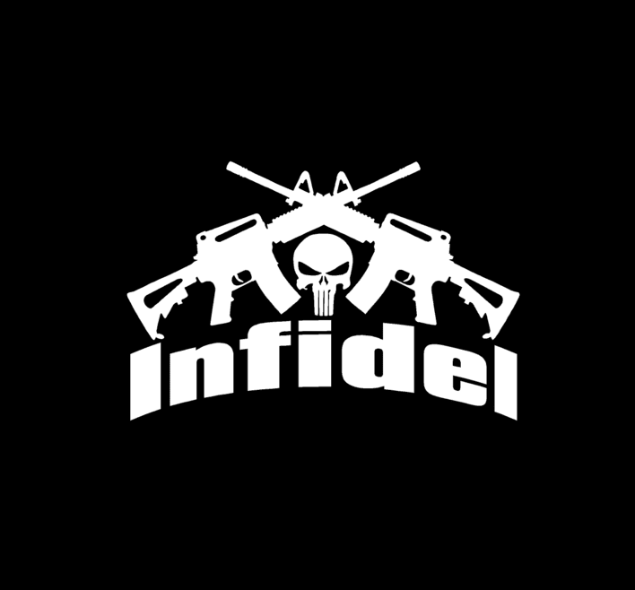 Punisher Infidel Crossed Ar Vinyl Decal Stickers a3