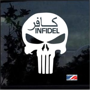 infidel punisher skull window decal sticker
