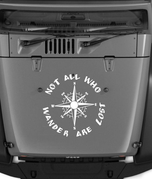 All That Wander Are Not Lost Compass Jeep Hood Jeep Decal Sticker - Jeep hood decalsall that wander are not lost compass jeep hood decal sticker