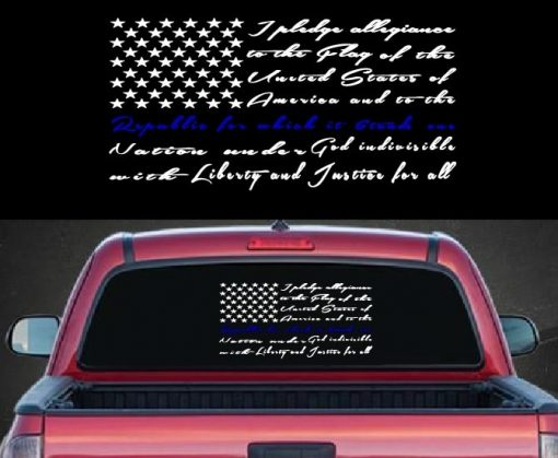 Pledge of Allegiance Back the Blue Vinyl Decal Stickers