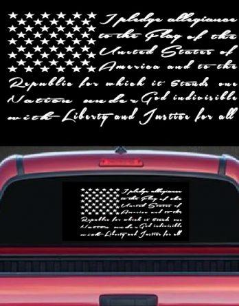 Pledge of Allegiance Flag Rea Window Vinyl Decal Stickers
