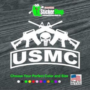 usmc punisher crossed ar decal sticker