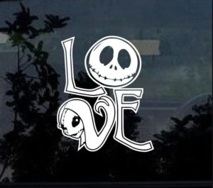 Jack and Sally Nightmare Before Christmas Love Decal Sticker