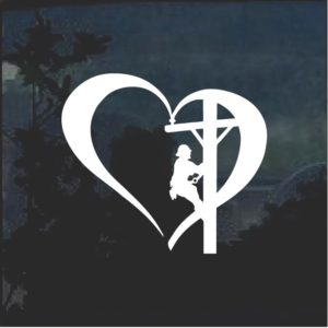 Love my Lineman Heart Decal Sticker