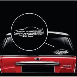paul walker speed jdm vinyl window decal sticker