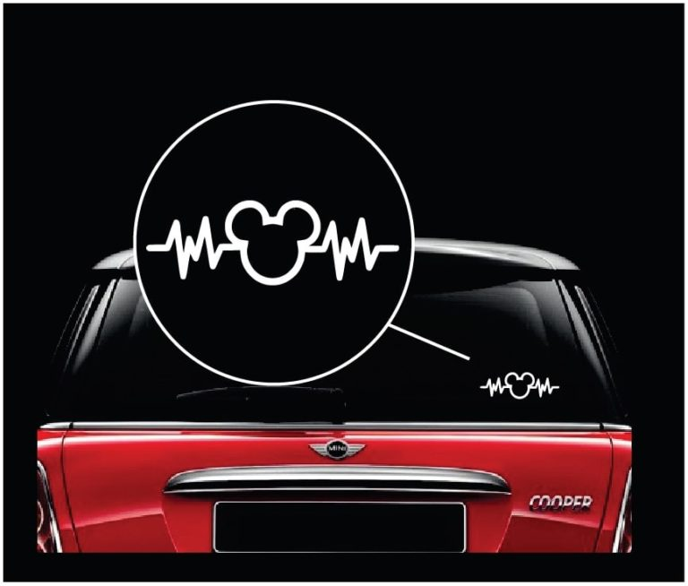 Mickey mouse disney heartbeat decal sticker a2 custom for Getting stickers off glass
