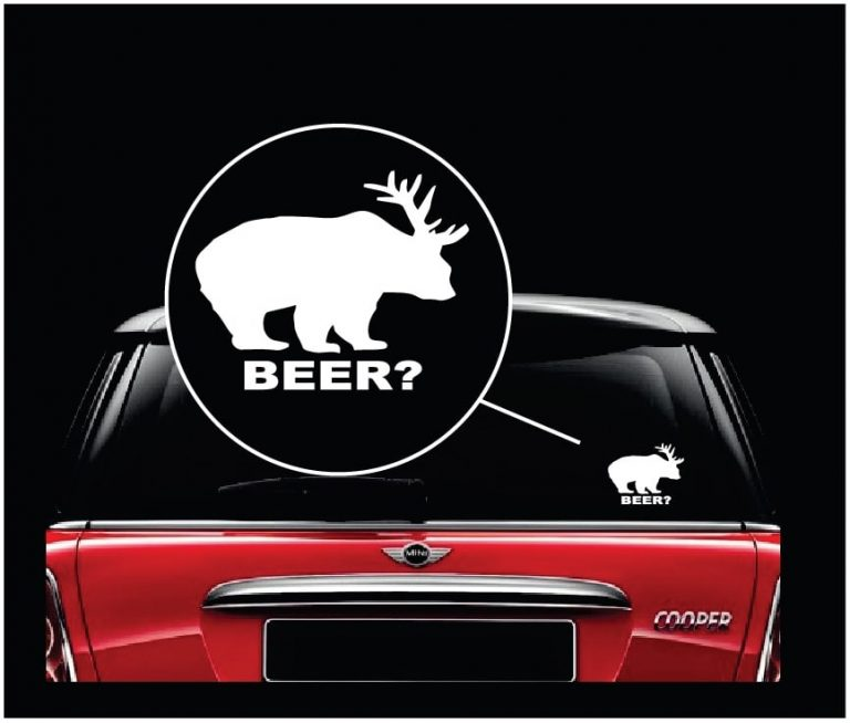 bear beer funny window decal sticker