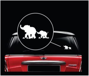 elephant mom and baby window decal sticker