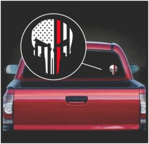 punisher skull flag firefigher fiireman line viny window decal sticker a2