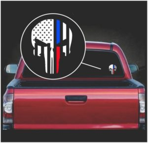 punisher skull flag police and fire viny window decal sticker a2