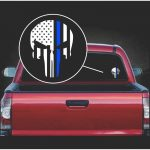 Punisher Skull Flag thin Blue Line Window Decal Sticker