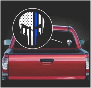 punisher skull flag police blue line viny window decal sticker a2