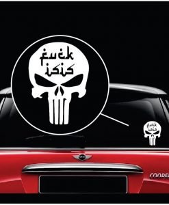 punisher skull fuck isis window decal sticker