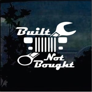 Jeep Decals - Built not bought Yj Wrangler decal