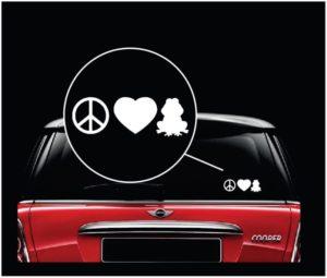 Peace love frogs window decal sticker