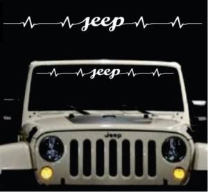 Jeep Heartbeat Windshield Banner Decal Sticker