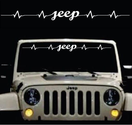 Jeep heartbeat windshield banner decal sticker