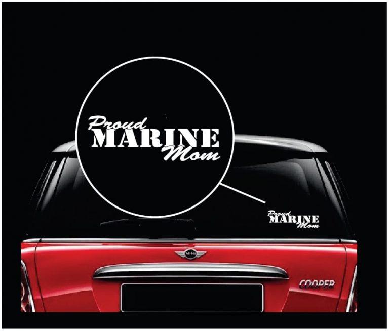 Proud Marine Mom USMC Vinyl Window Decal Sticker