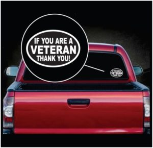 Veteran Thank You Oval Window Decal Sticker