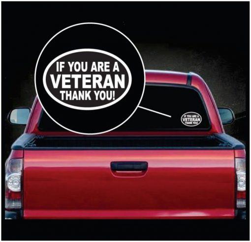 Veteran Thank You Oval Window Decal Sticker