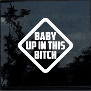 BABY UP IN THIS BITCH Vinyl Window Decal Sticker a2
