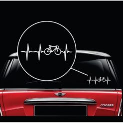Bicycle Cycling heartbeat window decal sticker