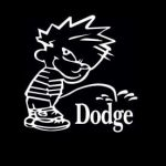 Calvin Piss On Dodge Decal Stickers