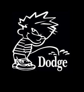 Calvin Piss On Dodge Vinyl Decal Stickers