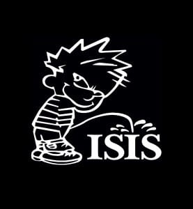 Calvin Piss On ISIS Vinyl Decal Stickers
