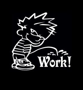 Calvin Piss On Work Vinyl Decal Stickers