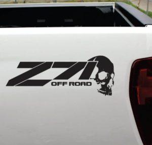 Chevy Z-71 off road Skull vinyl decal sticker set of 2