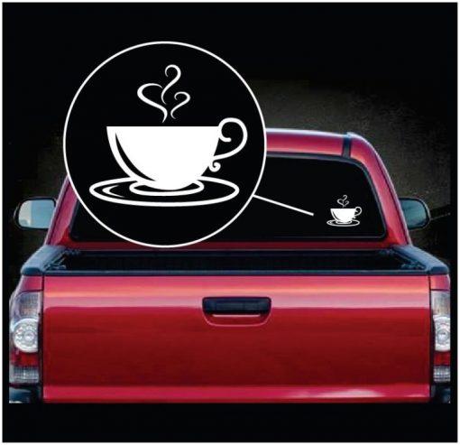 Coffee Cup Swirls Vinyl Window Decal Sticker