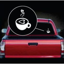 Coffee Love Heart Vinyl Window Decal Sticker