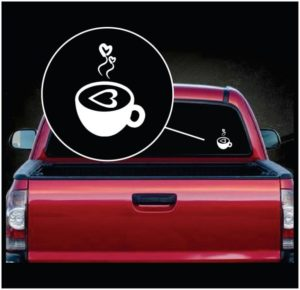 Coffee Love Heart Vinyl Window Decal Sticker