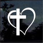 Cross Heart  Window Decal Sticker