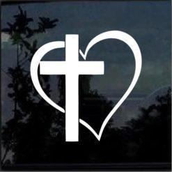 Cross Heart Vinyl Window Decal Sticker