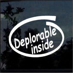 Deplorable inside Vinyl Window Decal Sticker