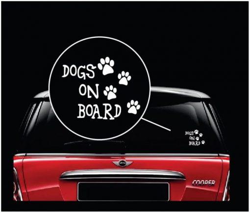 Dogs On Board Window Decal Sticker