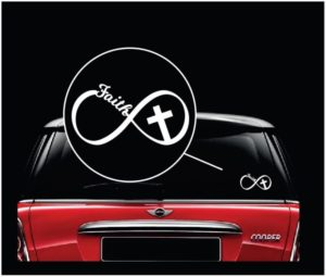 Faith Christian Infinity Cross Vinyl Window Decal Sticker