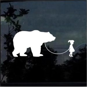 GIRL WALKING A BEAR Vinyl Decal Sticker