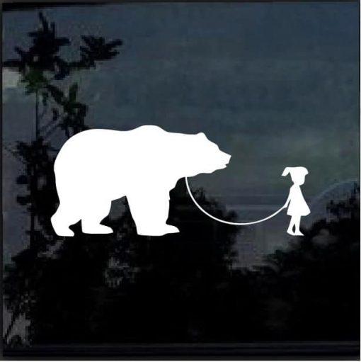 GIRL WALKING A BEAR Vinyl Decal Sticker