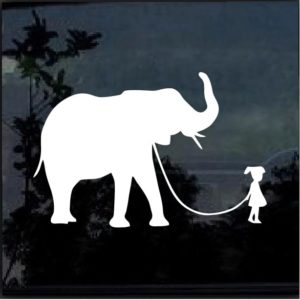 GIRL WALKING A ELEPHANT Vinyl Decal Sticker