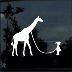 GIRL WALKING A GIRAFFE Vinyl Decal Sticker