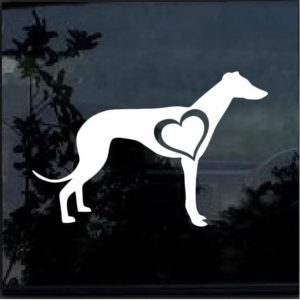 GREYHOUND LOVE HEART Vinyl Decal Sticker